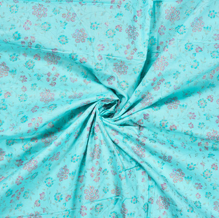 SkyBlue Pink Flower Jam Cotton Print Fabric-28224
