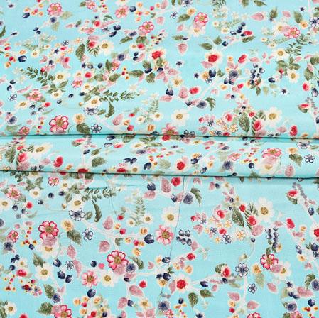 SkyBlue Red Digital Flower Print Georgette Fabric-41198