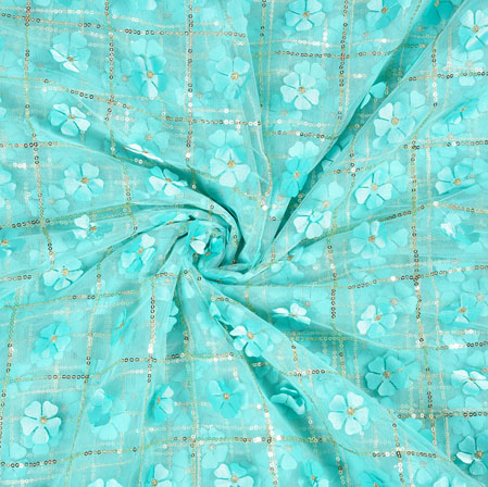 SkyBlue Silver Floral Net Applique Fabric-19244