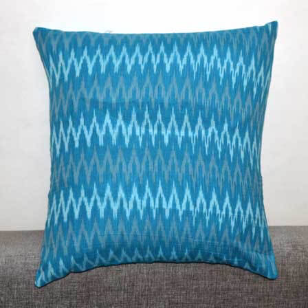 Skyblue White and Light Beige Zig Zag Ikat Print Cushion Cover