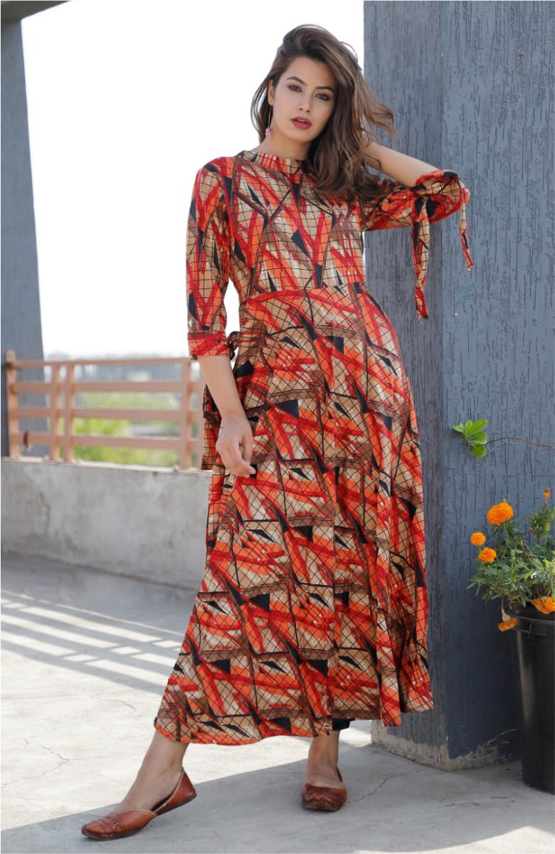 Orange-Beige Staright kurta in Rayon print-k104-33612
