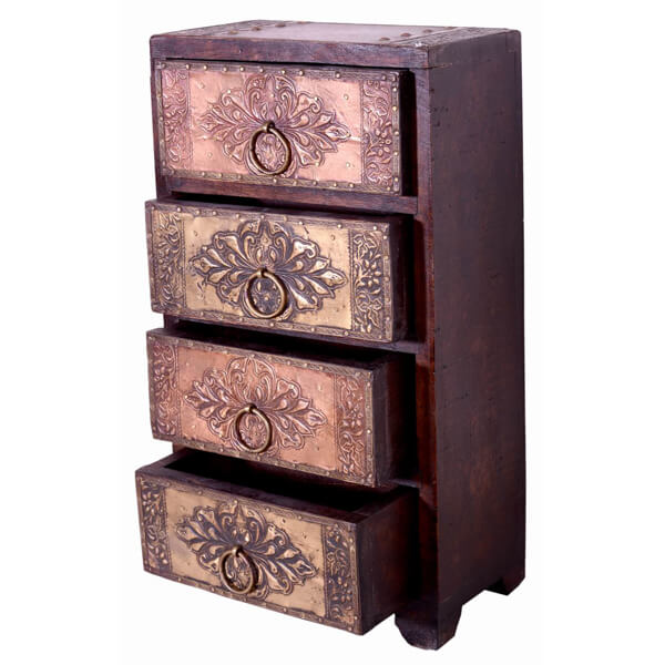 Teak Wood Brown Color Beautiful Chest of 4 Wooden Drawers