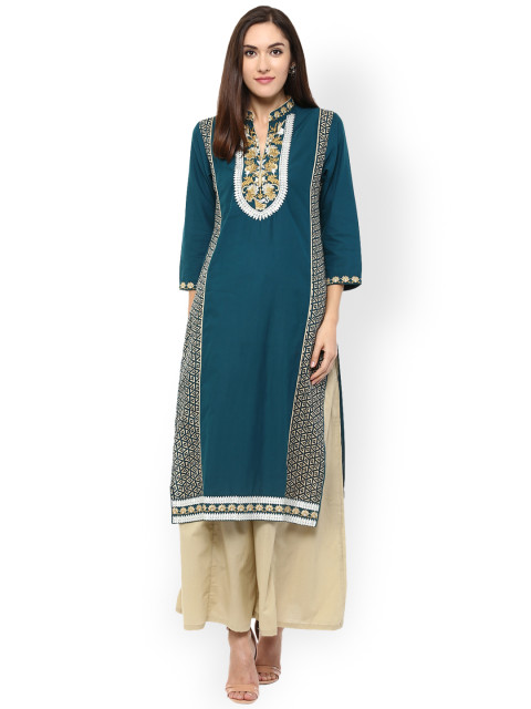 Teal Embroidered Straight Kurta-22119