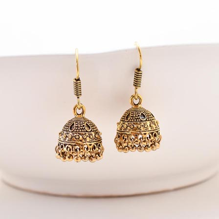 Textured designer Gold Jhumki Earring pair for Women