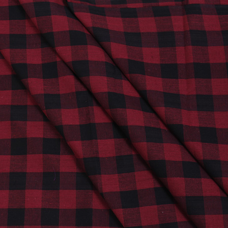 Tom Tom Checks On Red and Black Handloom Cotton Khadi Fabric-40035