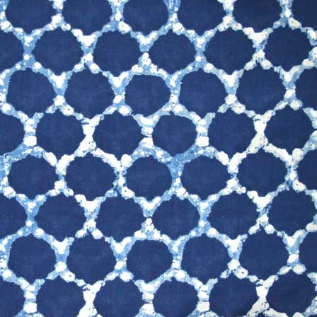 Traditional Indigo Blue and White Sanganeri Print Cotton Fabric