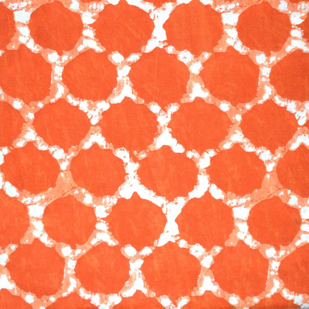 Buy traditional orange block print cotton fabric by the yard for Printed cotton fabric