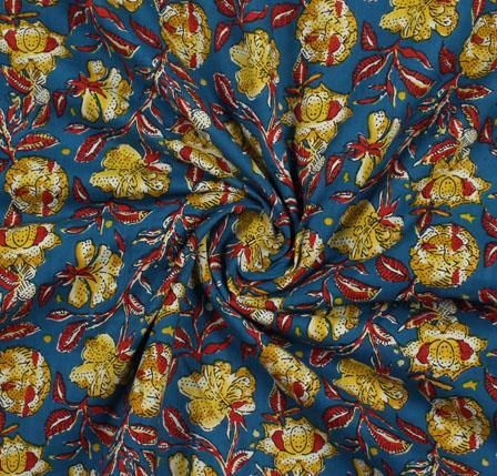 Turquoise Yellow Block Print Cotton Fabric-16049