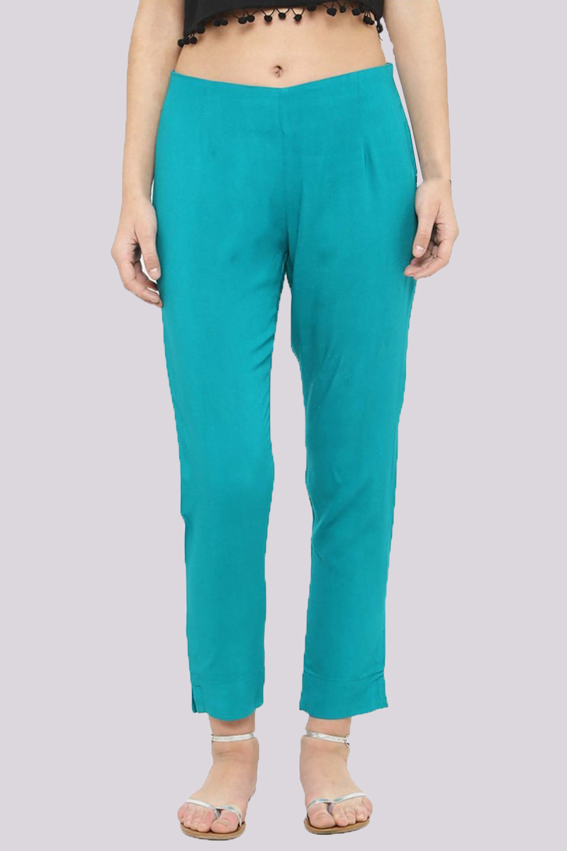Turquoise Blue Cotton Flex Pant with Side Chain and Pocket-33398