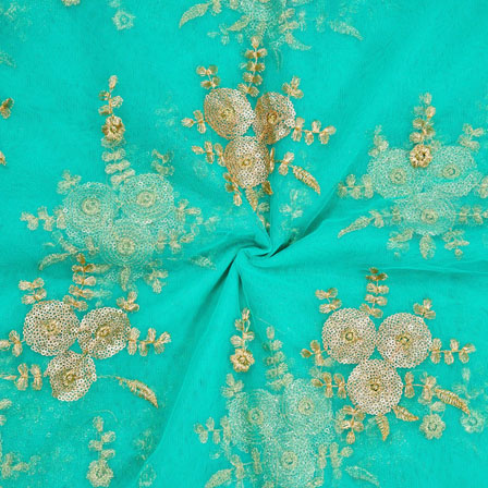 Turquoise Golden Net Embroidery Silk Fabric-18750