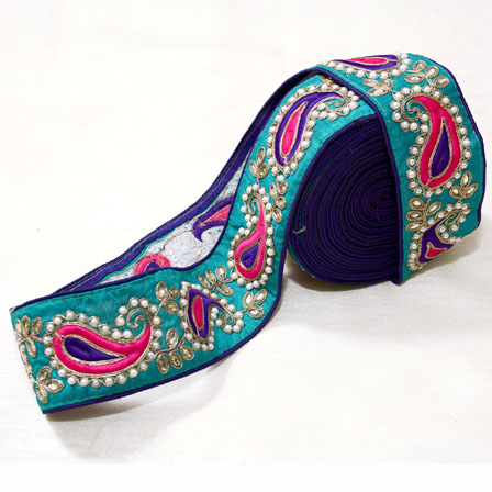9 MTR Roll of Turquoise Green-Pink and Purple Paisley Pattern Embroidery Lace-4027