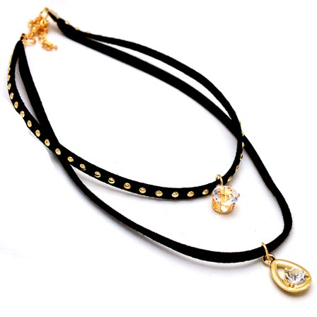 Two Layer Black and Gold Drop Neckless with White Stone Double Pandents for Women