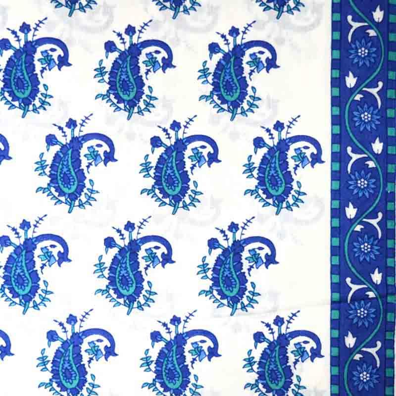 Unique Blue Paisley Block Printed on white Cotton Fabric