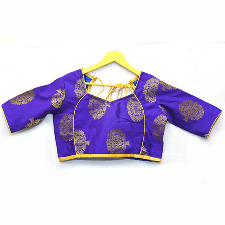 Violet and Golden Tree Silk Brocade Blouse-30110