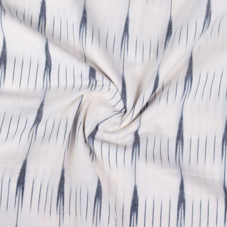 Whiite Black Ikat Cotton Fabric-11077
