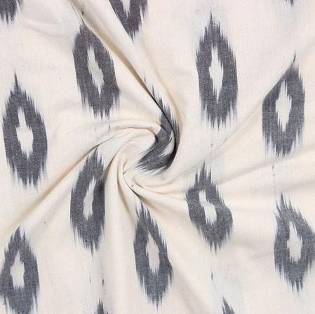 Whiite Black Ikat Cotton Fabric-11078