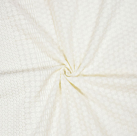 White Flower Lucknowi Chikan Fabric-95043