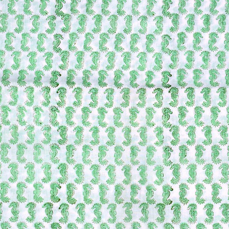 White Green Block Print Cotton Fabric-14693