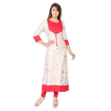 White 3/4 Sleeve Gold Animals Print Rayon Kurti-3122