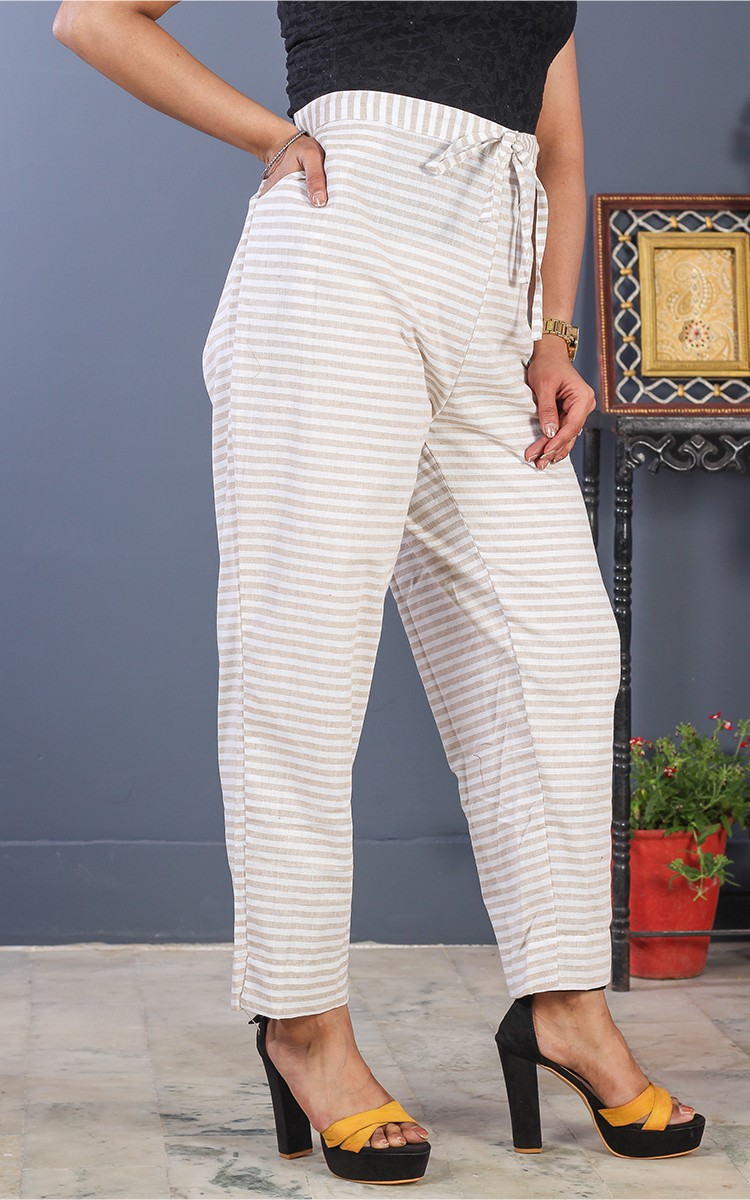 White Beige Cotton Stripe Pant-35202