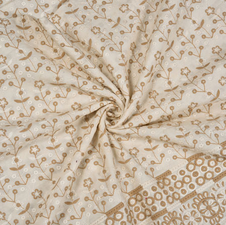 White Beige Flower Lucknowi Chikan Fabric-95036