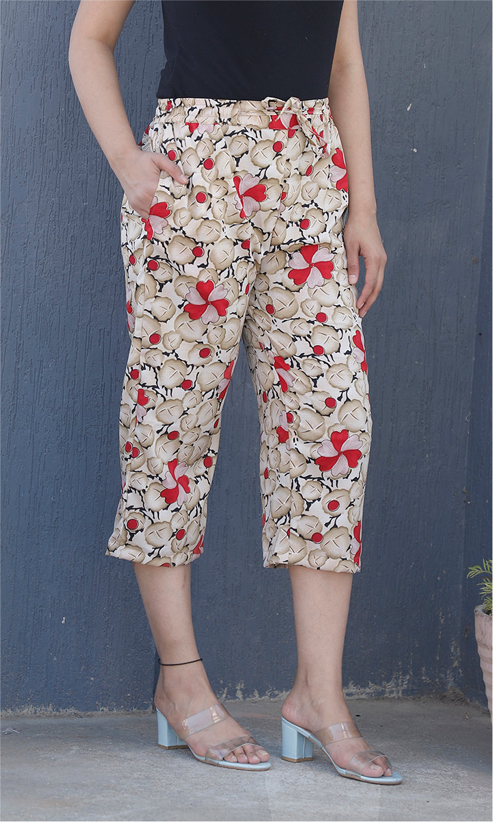 White Beige and Red Crepe Silk Women culottes-34445