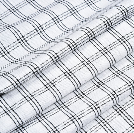 White Black Check Handloom Cotton Fabric-40877