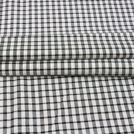 White Black Checks Cotton Handloom Fabric-42215