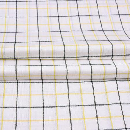 White Black Checks Cotton Handloom Fabric-42227