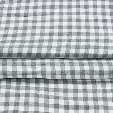 White Black Checks Cotton Print Fabric-28366