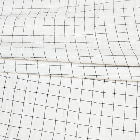 White Black Checks Handloom Cotton Fabric-42539