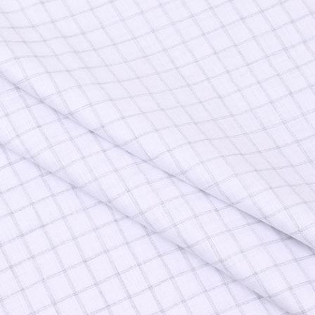 Shirt (2.25 Meter) Fabric-White Black Checks Handloom-140596