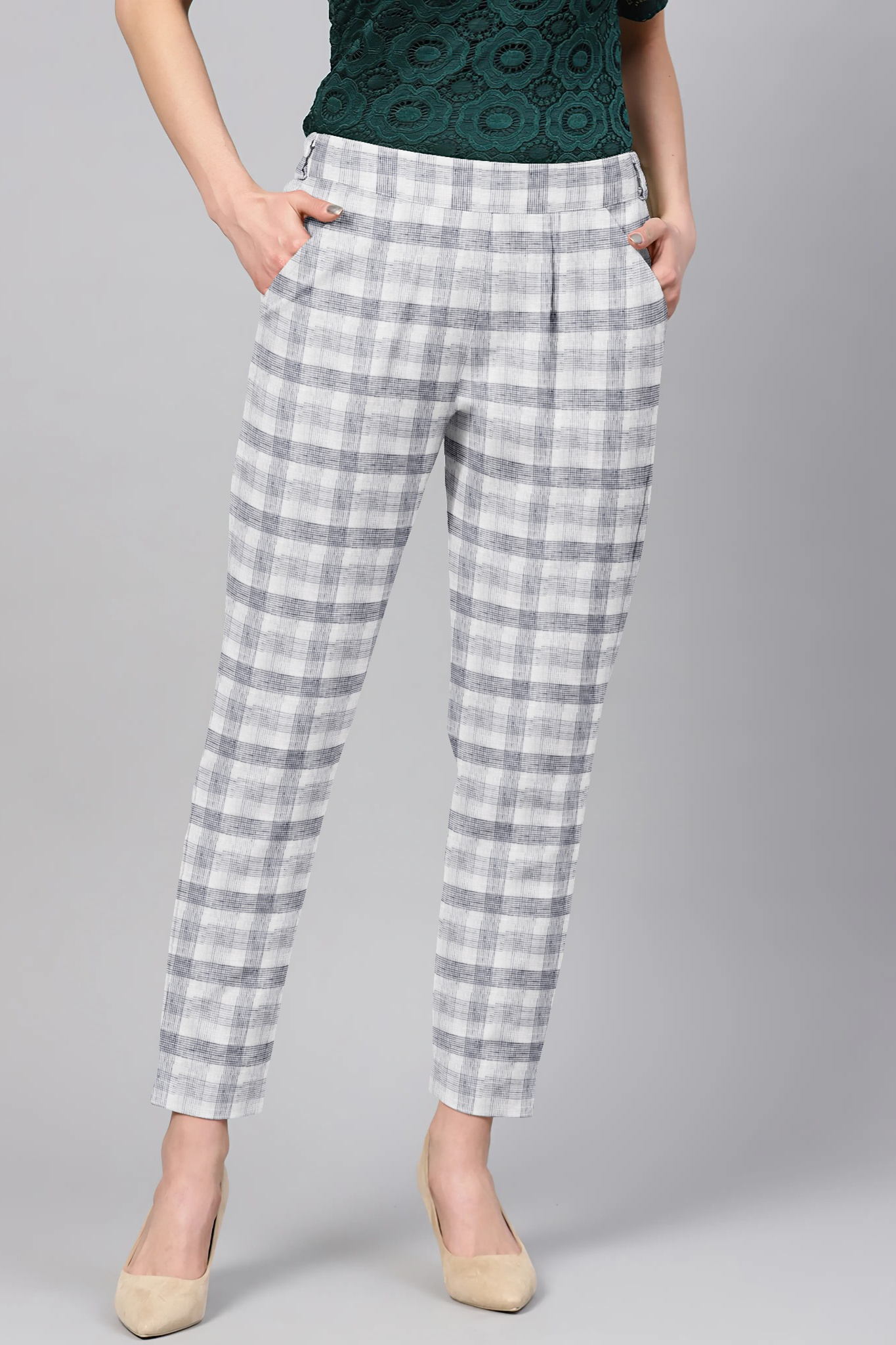 White Black Cotton Check Regular Fit Solid Trouser-36073