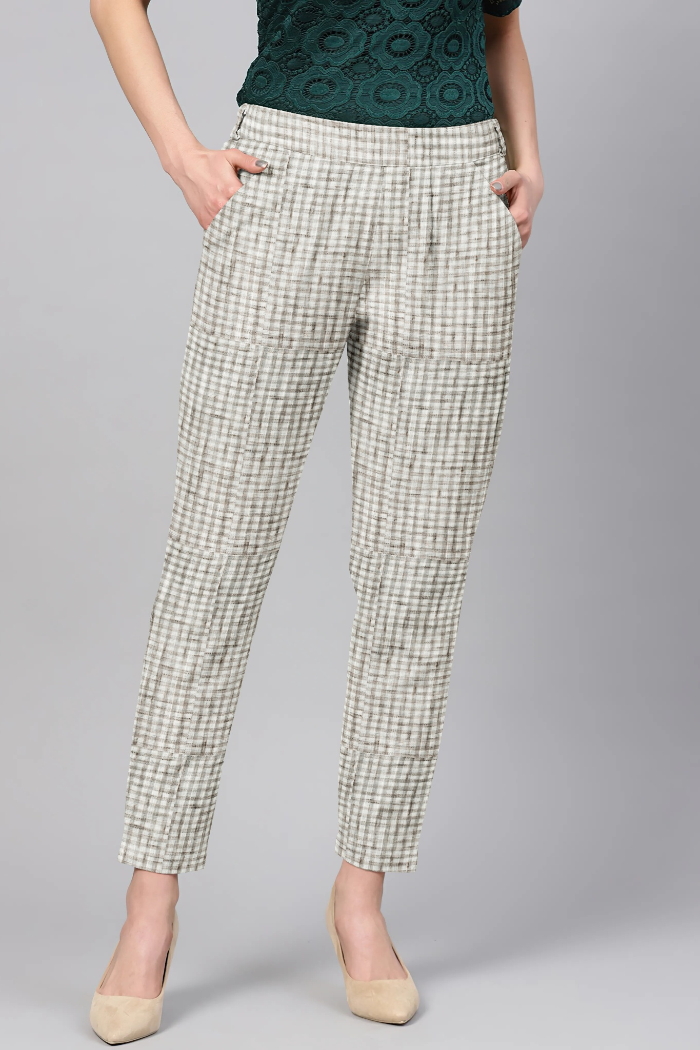 White Black Cotton Check Regular Fit Solid Trouser-36074