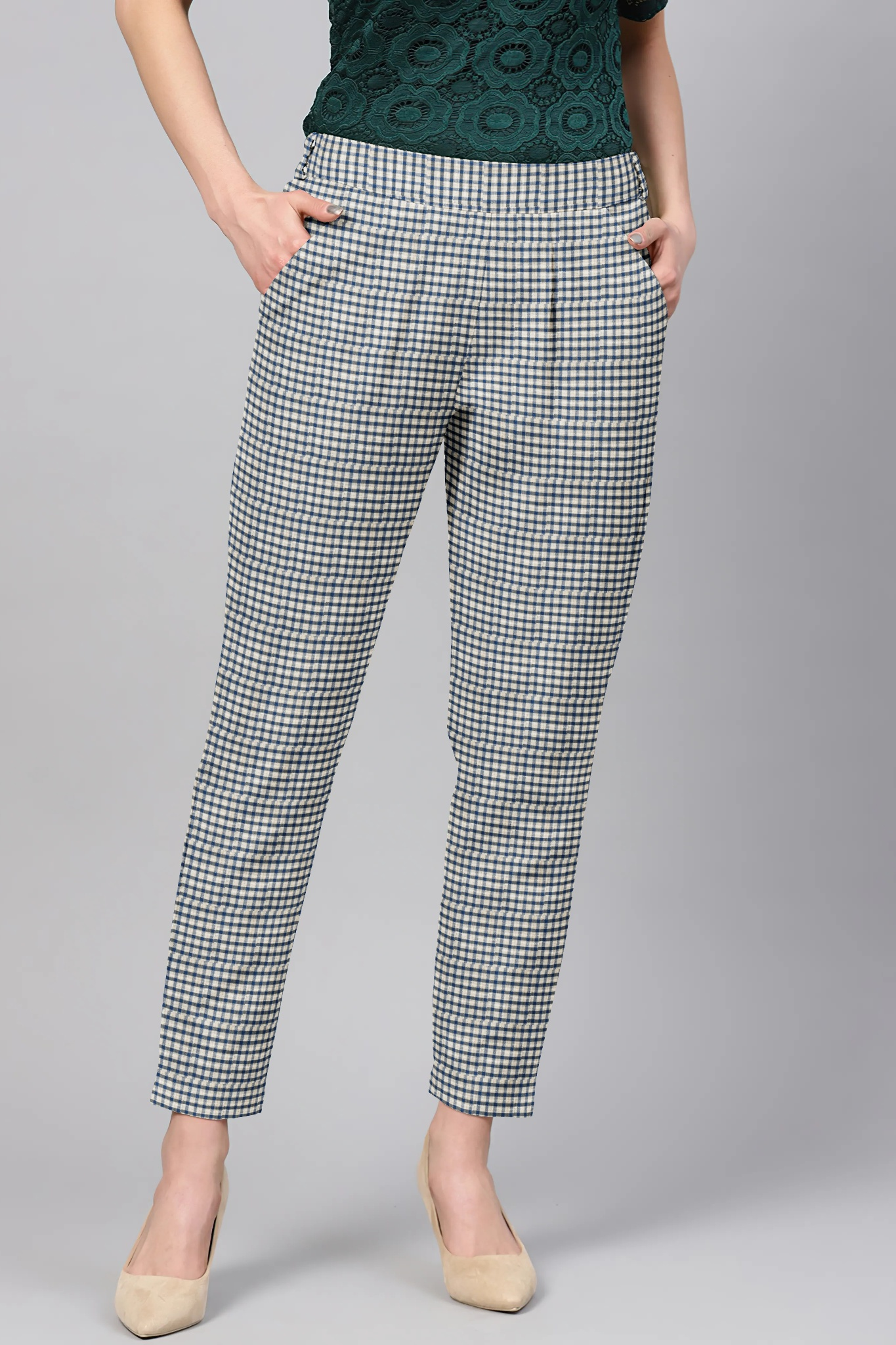 White Black Cotton Check Regular Fit Solid Trouser-36075