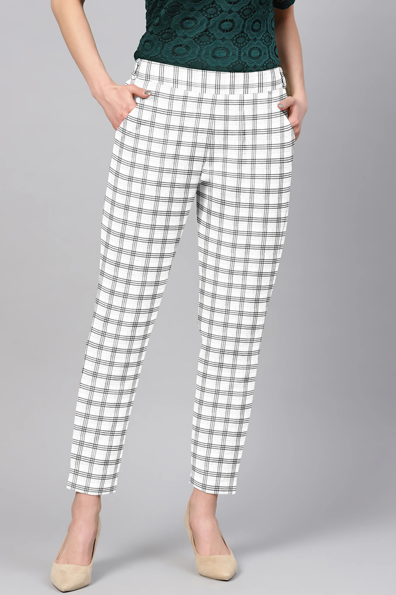 White Black Cotton Check Regular Fit Solid Trouser-36085