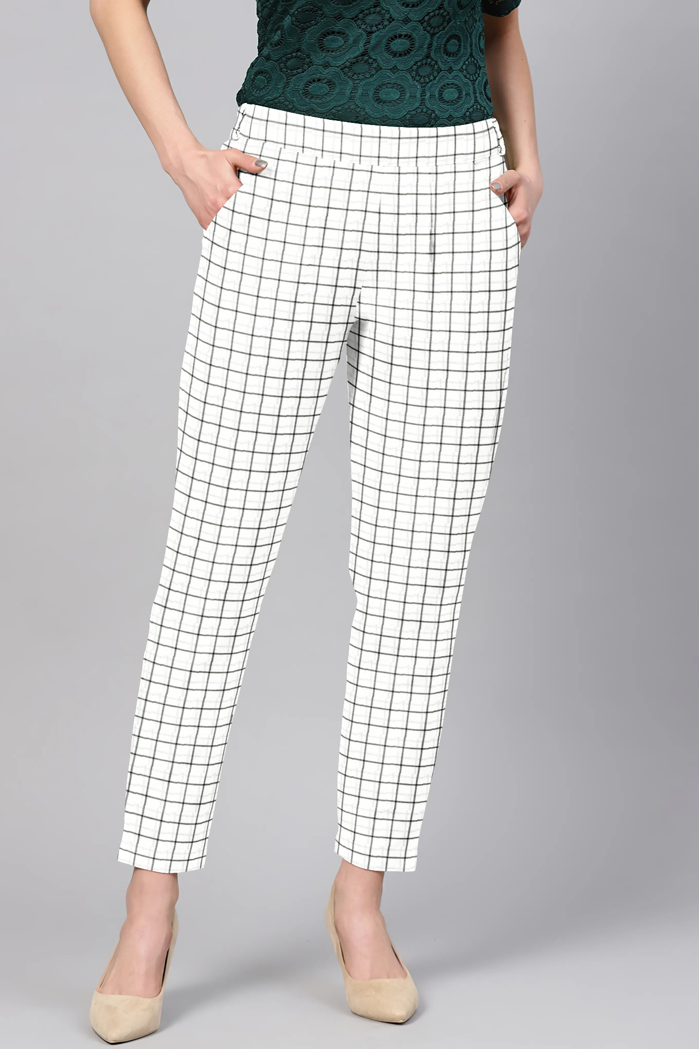 White Black Cotton Check Regular Fit Solid Trouser-36093