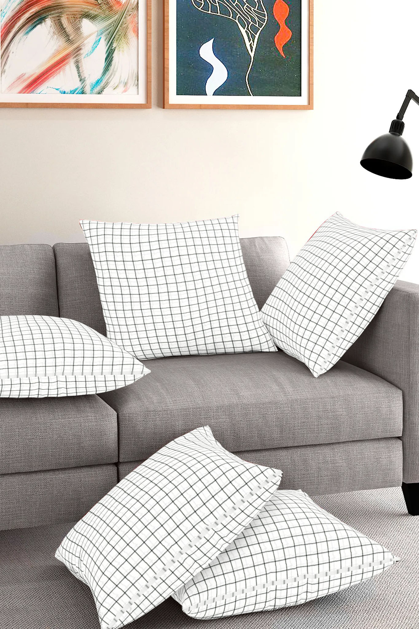 Set of 5-White Black Cotton Cushion Cover-35409-16x16 Inches