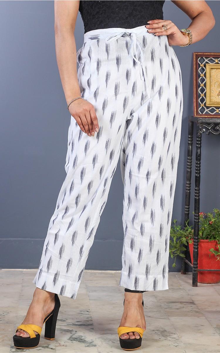 White Black Cotton Ikat Ankle Women Pant-34691