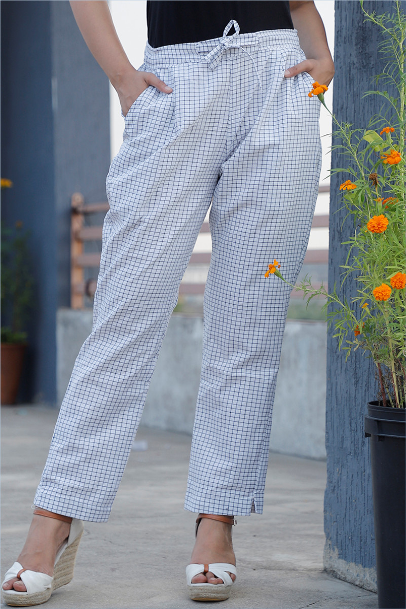 White Black Cotton Checks Pant with Belt-34050