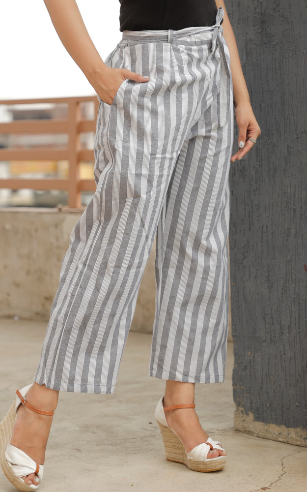 White Black Cotton Khadi Stripe Pant with Belt-33634