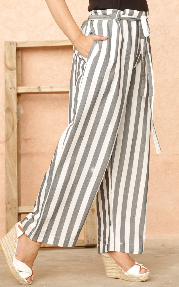 White Black Cotton Stripe Pant with Belt-33638