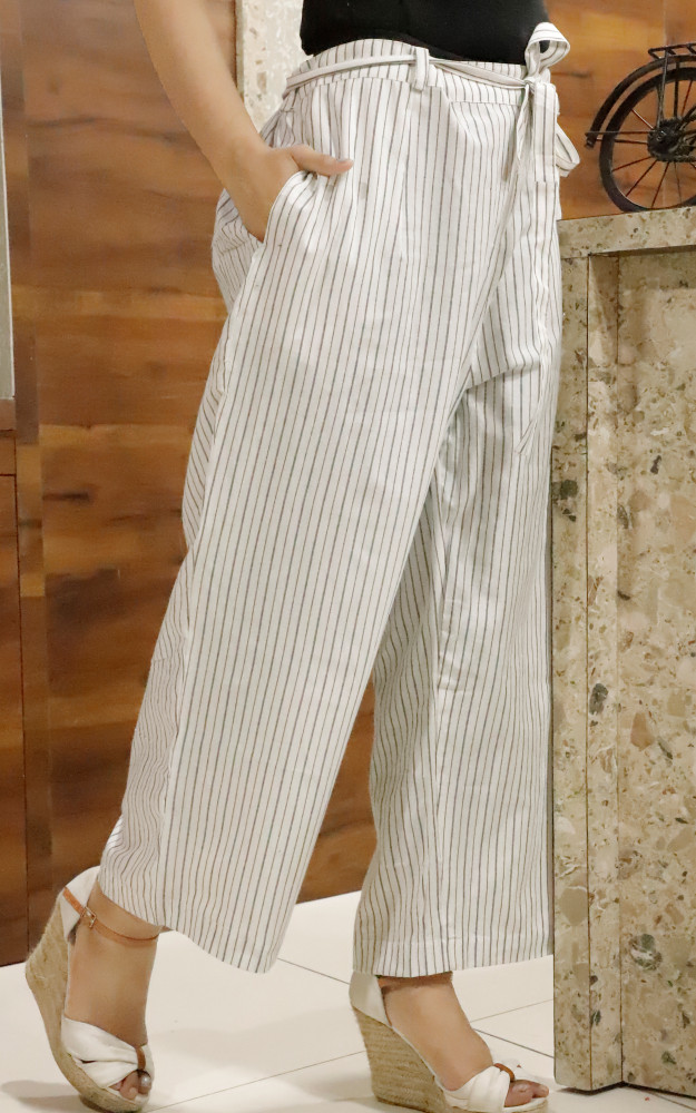 White Black Cotton Stripe Pant with Belt-33640
