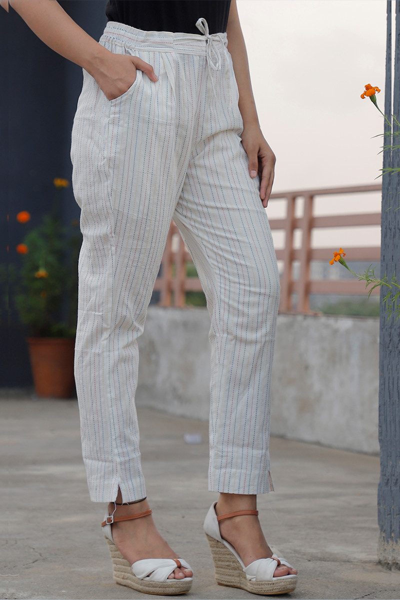 White Black Cotton Khadi Stripe Pant with Belt-34058