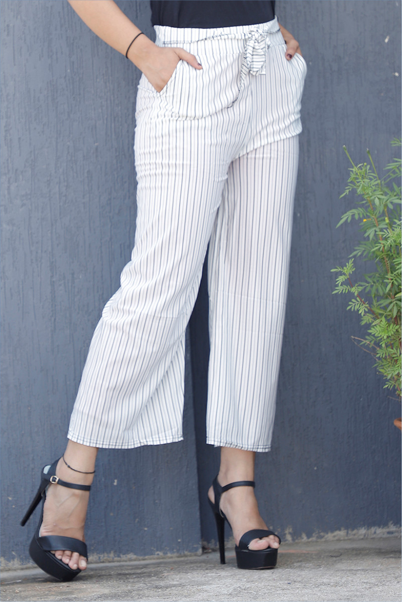 White Black Cotton Stripe Pant with Belt-34070