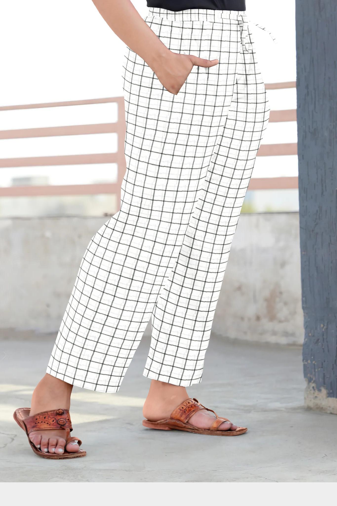 White Black Cotton Regular Check Pant-35319