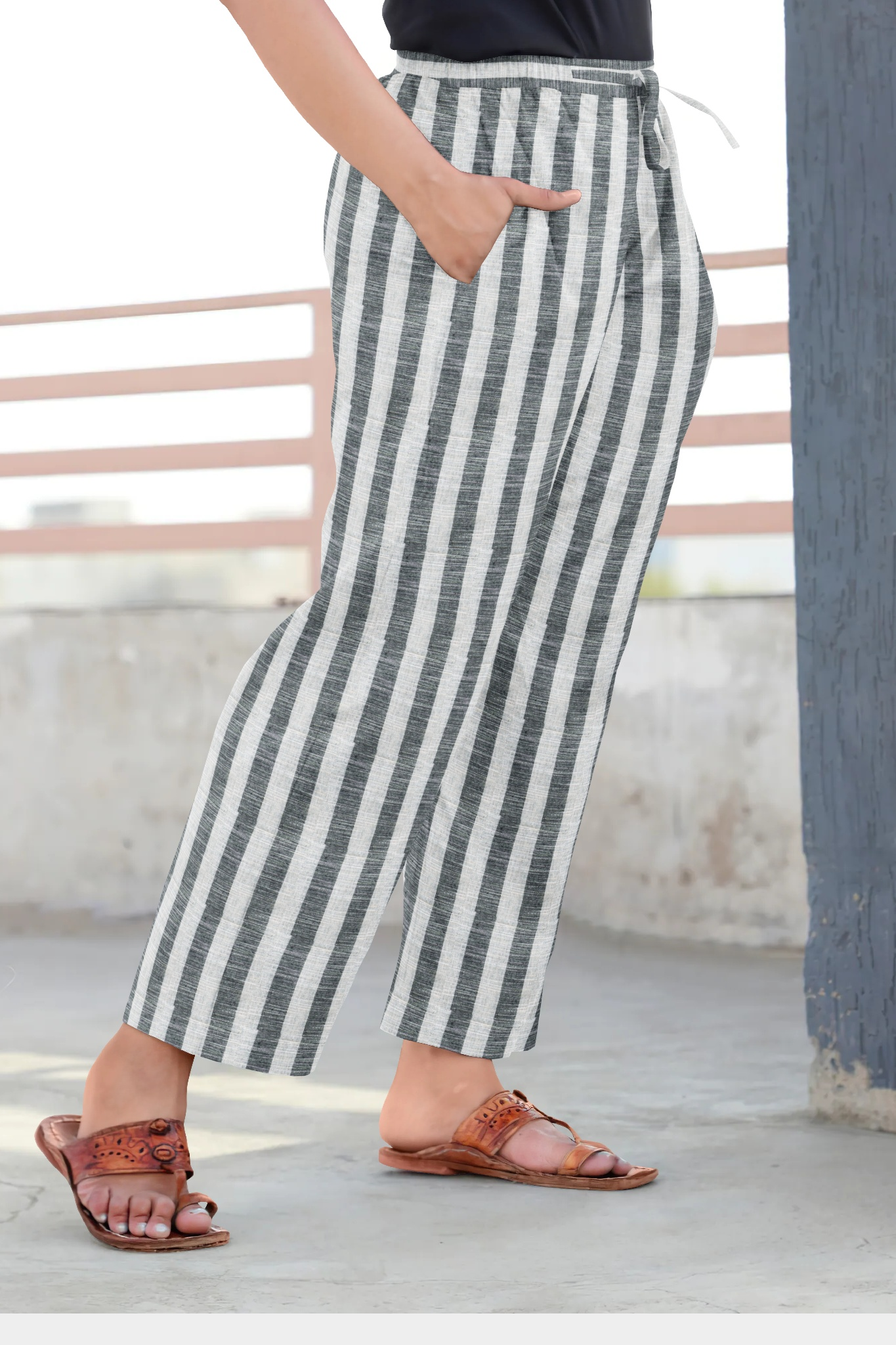 White Black Cotton Regular Stripe Pant-35330