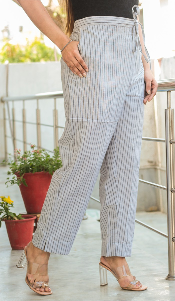 White Black Cotton Stripe Pant-35190