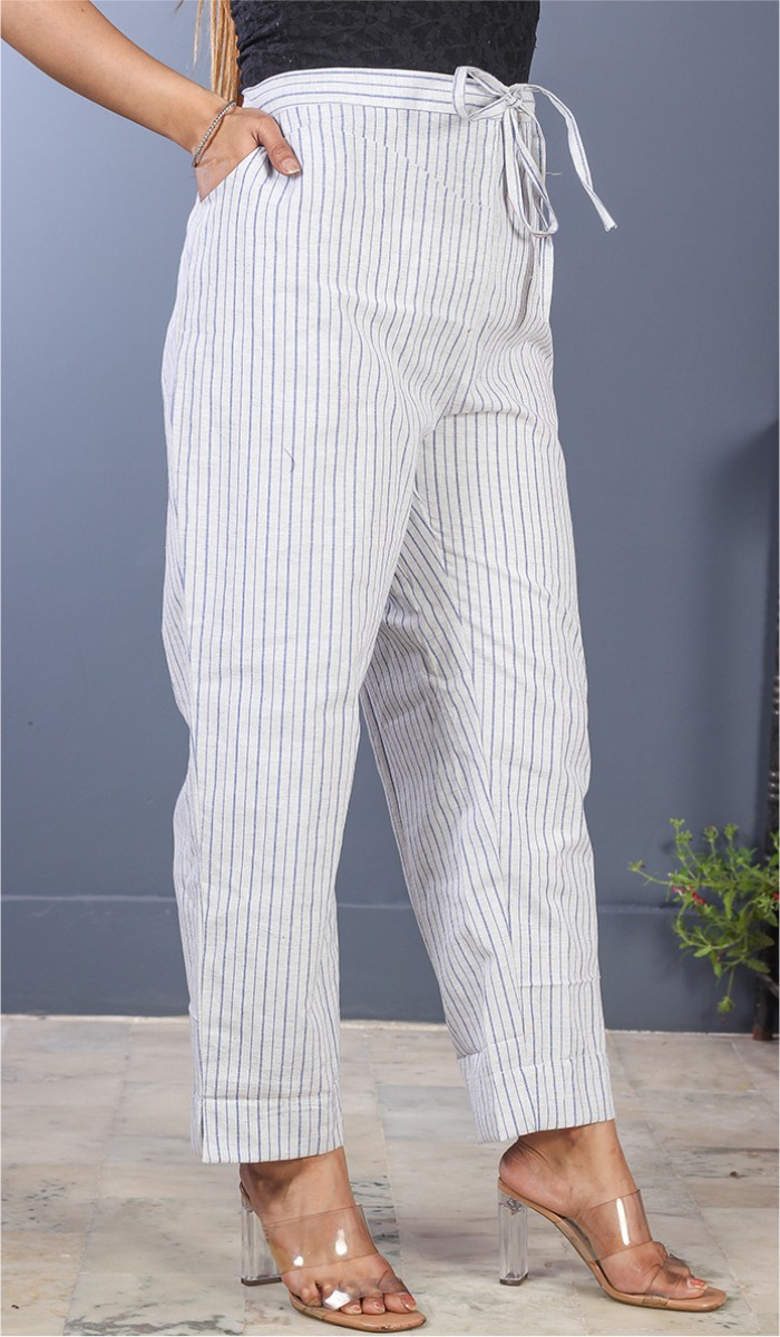 White Black Cotton Stripe Pant-35193