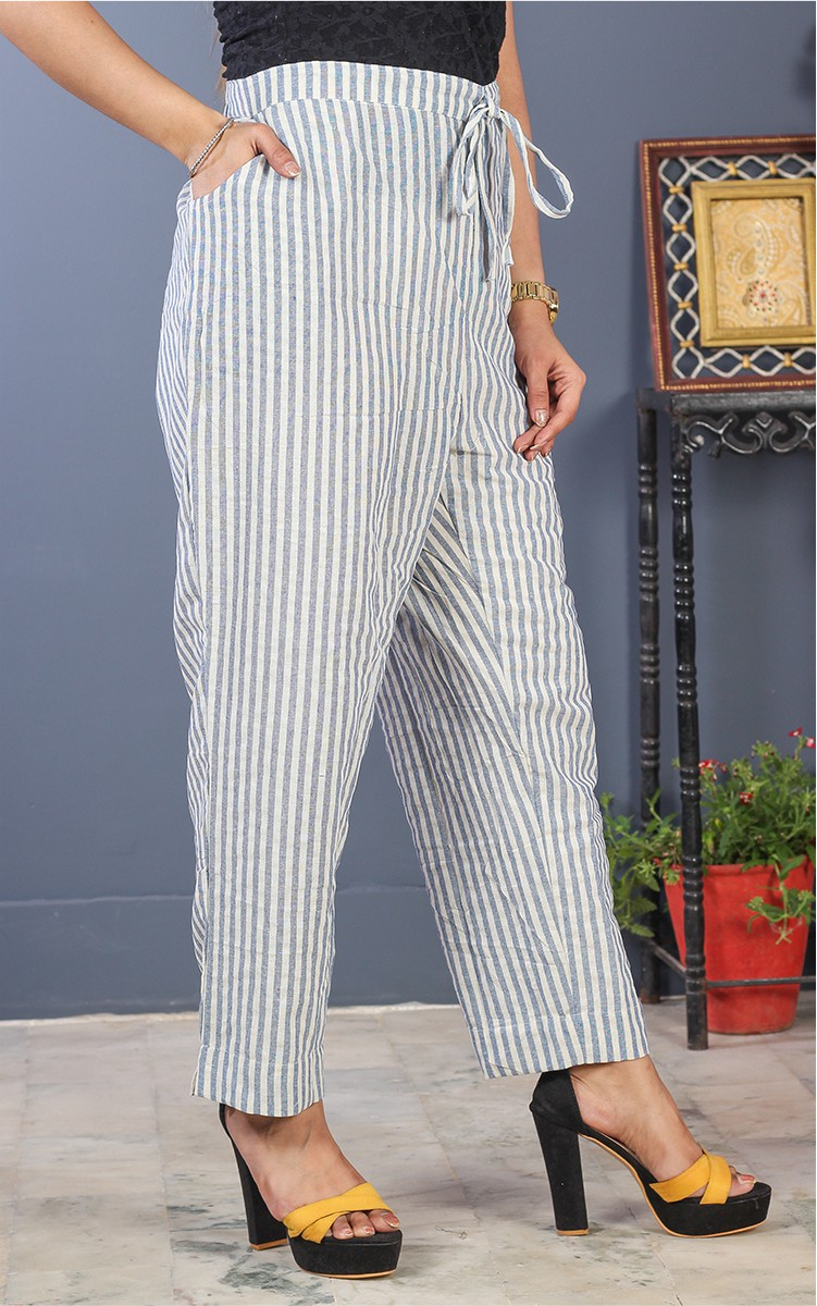 White Black Cotton Stripe Pant-35201